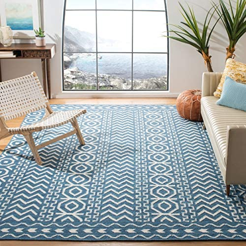 Safavieh Dhurries Collection DHU572A Hand Woven Dark Blue and Ivory Premium Wool Area Rug 8 x 10