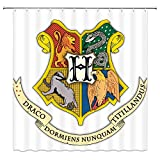Feierman Harry Potter Shower Curtain Decor Hogwarts School of Magic Logo Bathroom Curtain Decor Machine Washable Mildew Resistant with Hooks 70x70Inches …