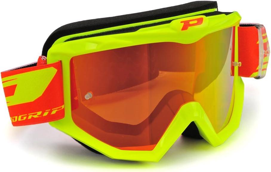 Progrip - Gafas 3201FL amarillo fluorescente con lente antiarañazos, multicapa 3248, color rojo, talla única