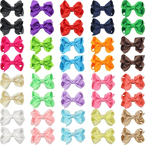 "Price comparison product image QtGirl 40pcs 2.5"" Pigtail Mini Hair Bow Alligator Clips with Hairbows Holder Hair Clips Hanger for Babies Girls Kids Toddlers in Pair"