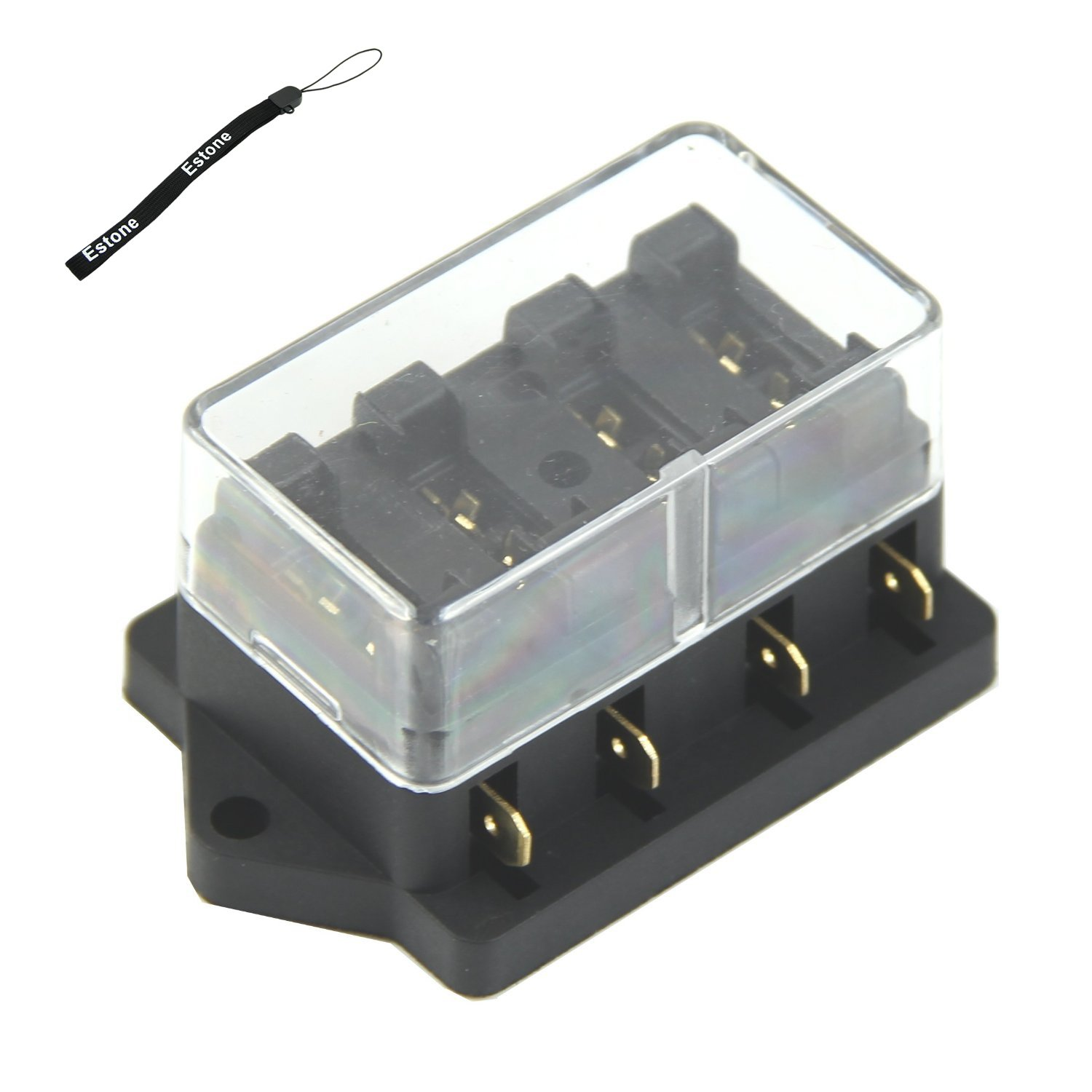 Estone 4 Way Fuse Box Block Holder Car Vehicle Circuits Circuit Automotive Blade Home Improvement