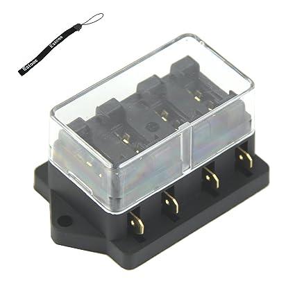 amazon com estone 4 way fuse box block fuse holder box car vehicle power fuse box estone 4 way fuse box block fuse holder box car vehicle circuit automotive blade