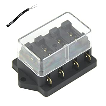 61rtOfwWBVL._SY355_ amazon com estone 4 way fuse box block fuse holder box car Bad Blade Fuse at bakdesigns.co