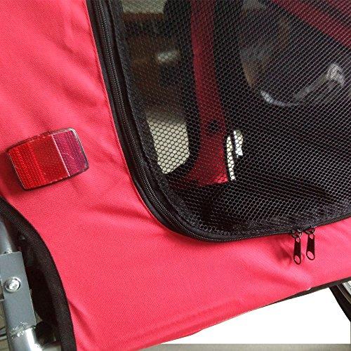 Tenive Retractable Pet Trailer- Pet Carrier w/ Suspension, Black & Red