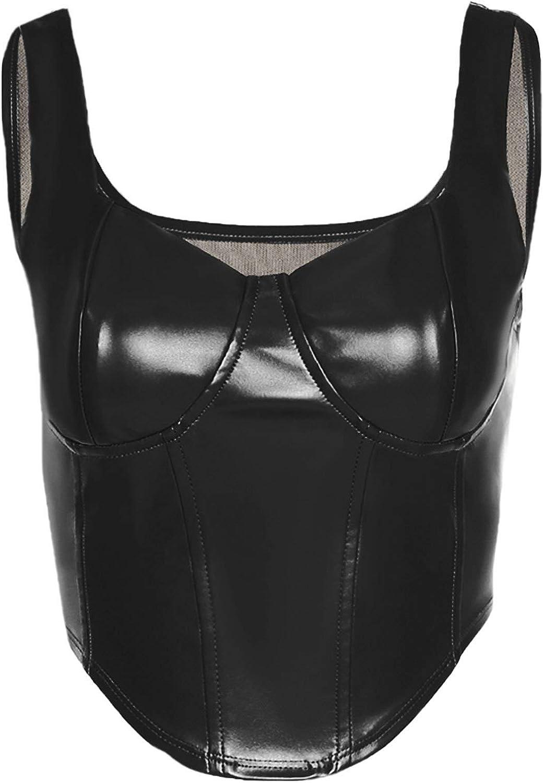 Women PU Leather Bustier Corset Short Tank Top Punk Style Vest Crop Top Clubwear
