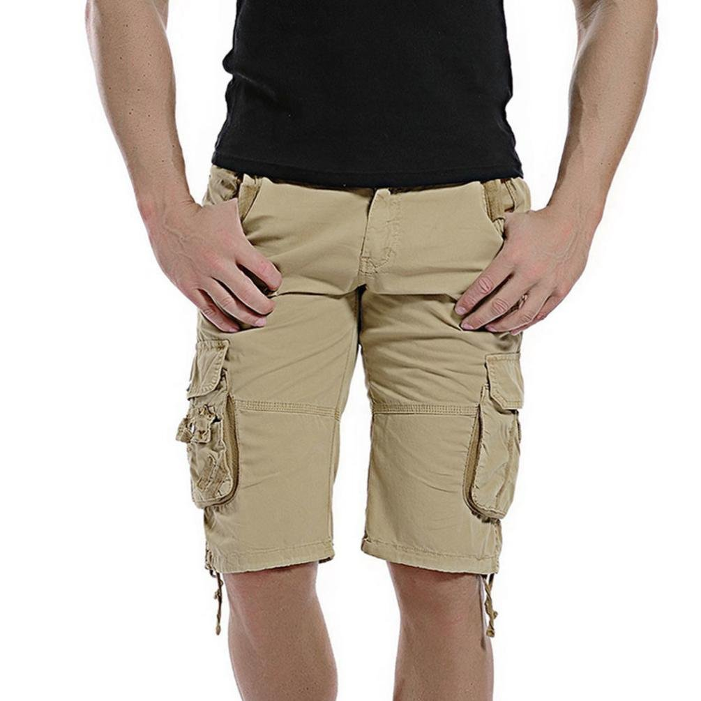 Clearance! PASATO Classic Mens Casual Pocket Beach Work Casual Men Short Trouser Shorts Pants(Khaki, 31)