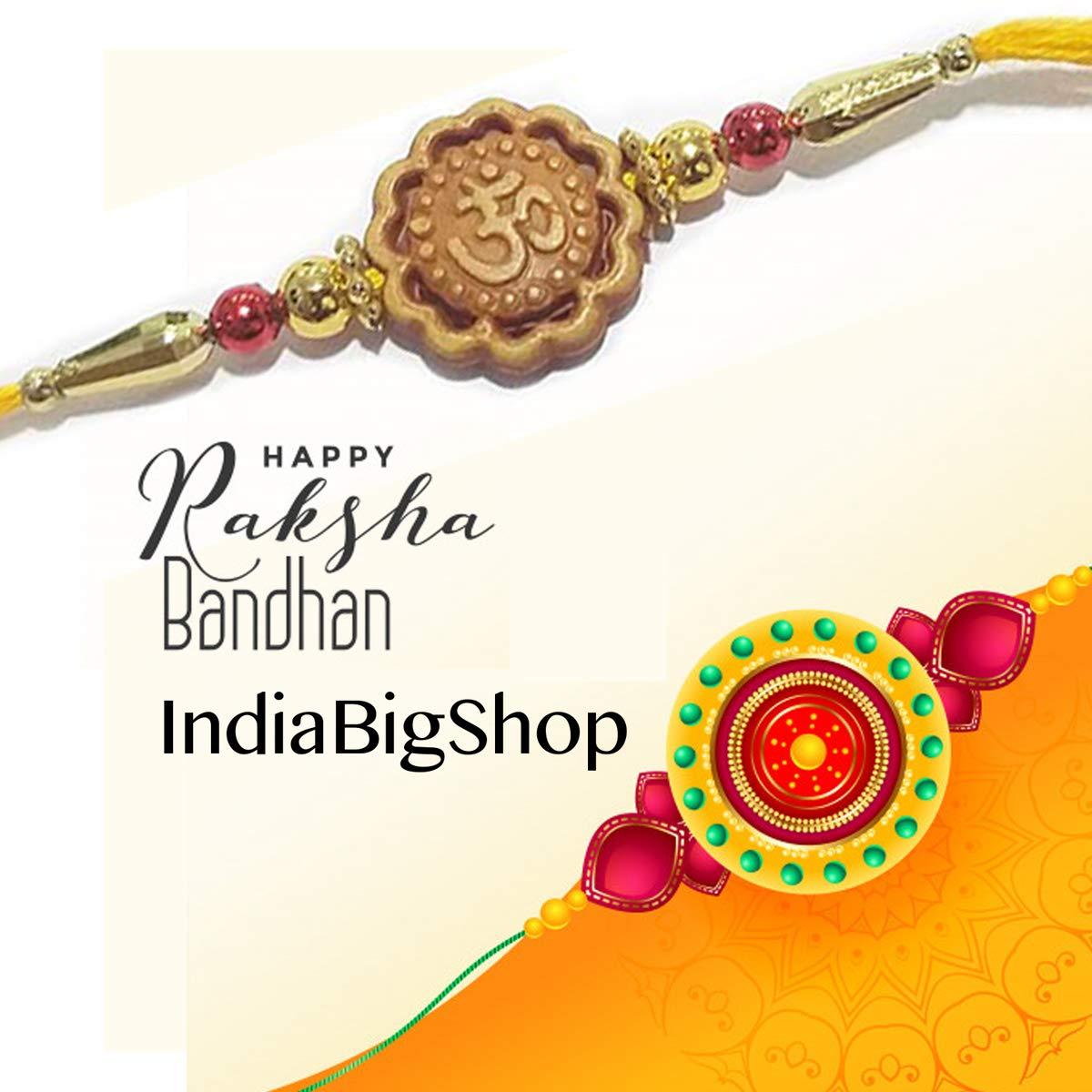 IndiaBigShop Set of 6 Rakhi for Brothers OM Design Rakhi with Golden Color Beads Design Rakhi Bracelet Multi Design and Assorted Color