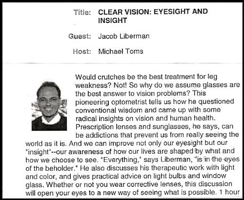 Clear Vision: Eyesight and Insight (Questioning Conventional Wisdom to Come up with Radical Insights on Vision and Human Health) [New Dimensions Radio Series] (1 Audio Cassette/1hr.)