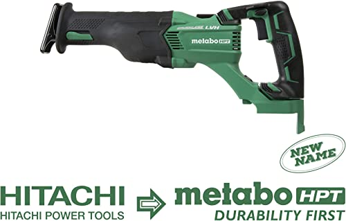 Metabo HPT Cordless Reciprocating Saw Tool Only No Battery 3-Mode Selector W Auto Mode Tool-Less Blade Changing System Large Rafter Hook Lifetime Tool Warranty Brushless CR18DBLQ4