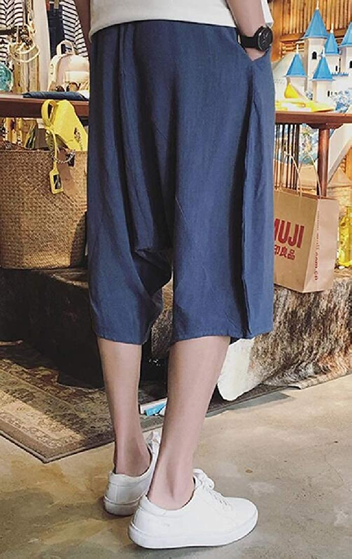 Hajotrawa Mens Elastic Waist Casual Straight Drop Crotch Summer Capri Pants