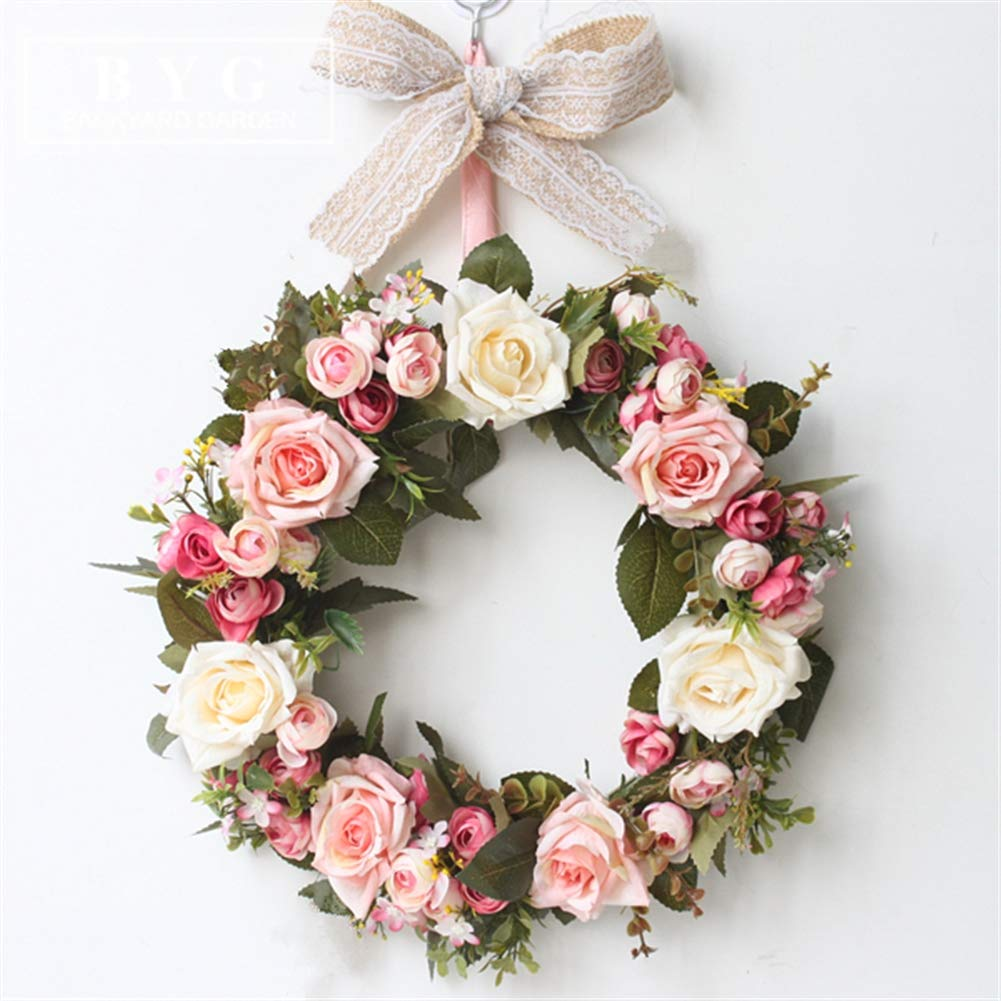 Liveinu-Handmade-Floral-Artificial-Simulation-Peony-Flowers-Garland-Wreath-Wedding-Table-Centerpieces-for-Home-Party-Decor-14-Rose-Red-Door-Wreath-with-Bow