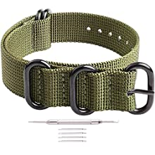 Ritche 22mm Army Green Nato Strap With Black Heavy Buckle Replacement Timex weekender watch band