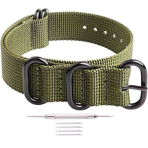 Ritche 22mm Army Green NATO Strap with Black Heavy Buckle Compatible with Timex Weekender Watch Band
