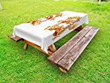 Ambesonne Dragon Outdoor Tablecloth, Twin Fire Dragon ZodiacStatues Asian Art ChinesePhilosophy Themed Picture, Decorative Washable Picnic Table Cloth, 58 X 84 inches, Vermilion Yellow