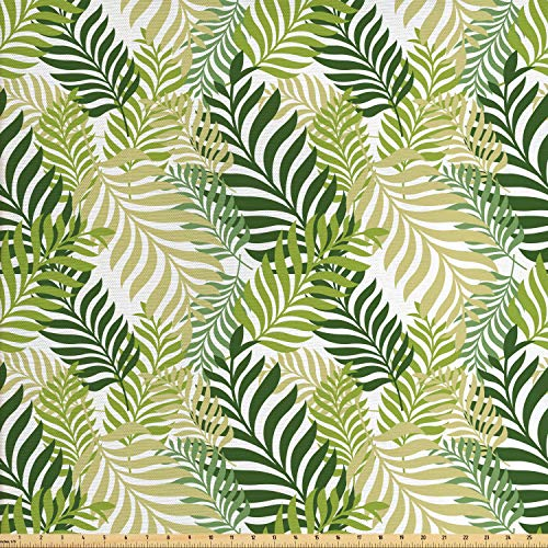Ambesonne Leaf Fabric by The Yard, Tropic Exotic Palm Tree Leaves Natural Botanical Spring Summer Contemporary Graphic, Decorative Fabric for Upholstery and Home Accents, 1 Yard, Green Ecru