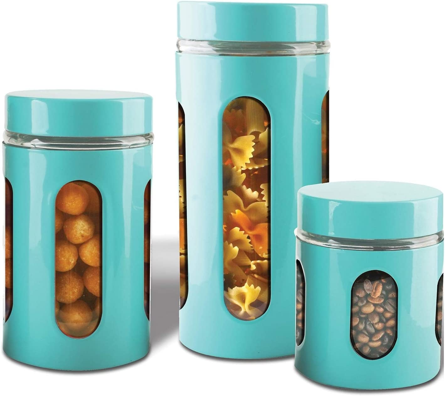 AIR-TIGHT KITCHEN CANISTER SET By Premius, 3-Piece Glass and Metal Canisters, Quick Access And Space Saving, Great Safe And Fresh Food, Convenient Sizes, Modern Design (Turquoise Blue)