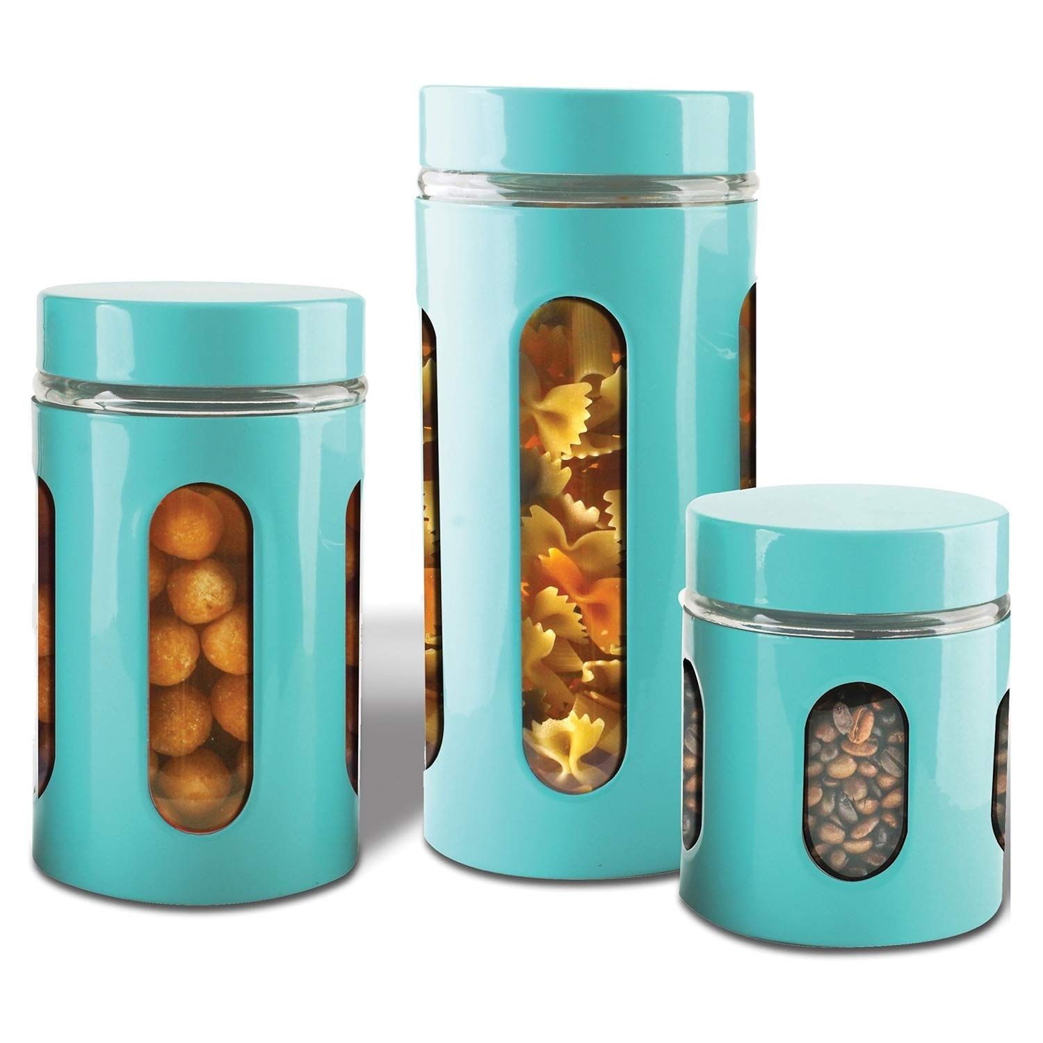 Air Tight Kitchen Canister Set By Premius 3 Piece Glass And Metal Canisters Quick Access And Space Saving Great Safe And Fresh Food Convenient Sizes Modern Design Turquoise Blue Buy Online In Andorra At