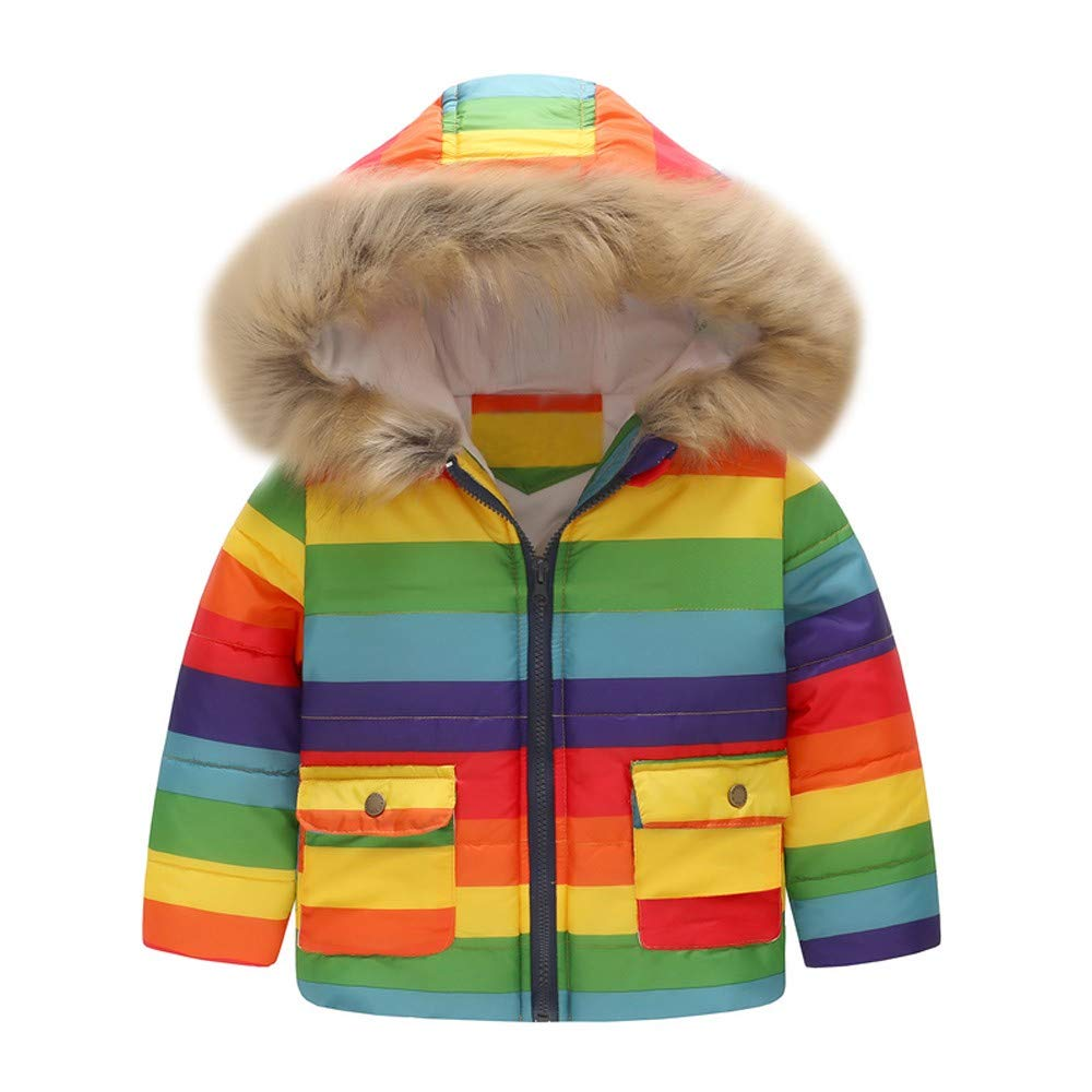 WARMSHOP Toddler Boys Girls Coat,2018 Winter Warm Stripe Rainbow Fur Collar Hooded Fleece Pockets Jacket Outcoat (3-4 Years Old, Multicolor) by WARMSHOP