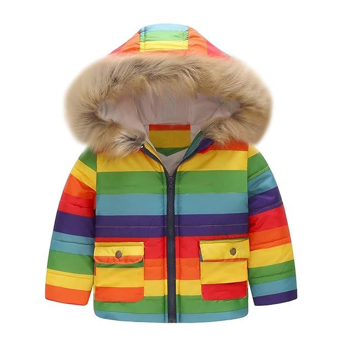 1e12e95dd20f2 Zerototens Cartoon Coats for Girls Cartoon Hooded Jacket Boys Outerwear  Baby Jacket Infant Kids Kids Clothes Rainbow Stripe Zipper Waterproof Jacket:  ...