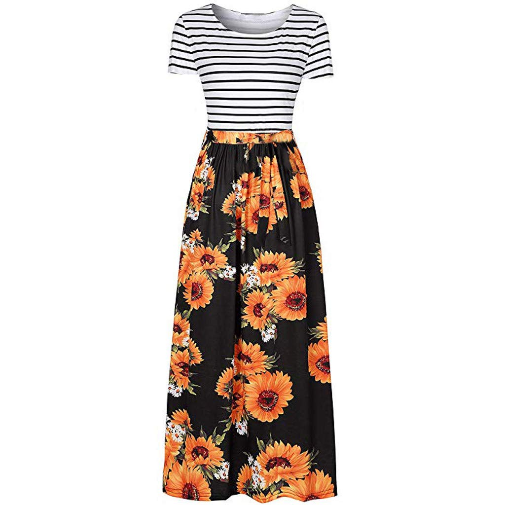 Women Dress Women Summer Striped Sunflowers Print Short Sleeve Pockets Long Bohe Maxi Dress (Black, M)