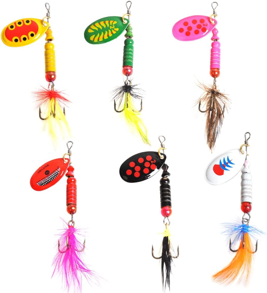 Fishing Lures Lot 12 Spoon Spinner Baits Hook Bass Trout Salmon Ice Fishing