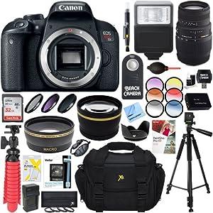 Canon EOS Rebel T7i Digital SLR Camera + Sigma 70-300mm f/4-5.6 DG Macro Telephoto Zoom Lens Accessory Bundle