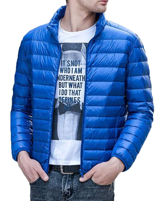 Domple Men Lightweight Warm Outerwear Stand Collar Coat Packable Down Puffer Jacket