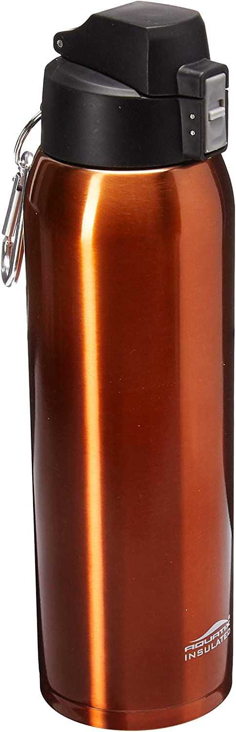Fliptop Aquatix Insulated Ultimate Sport Fitness Bottle Double Wall 32 ounce Burnt Orange Stainless Steel