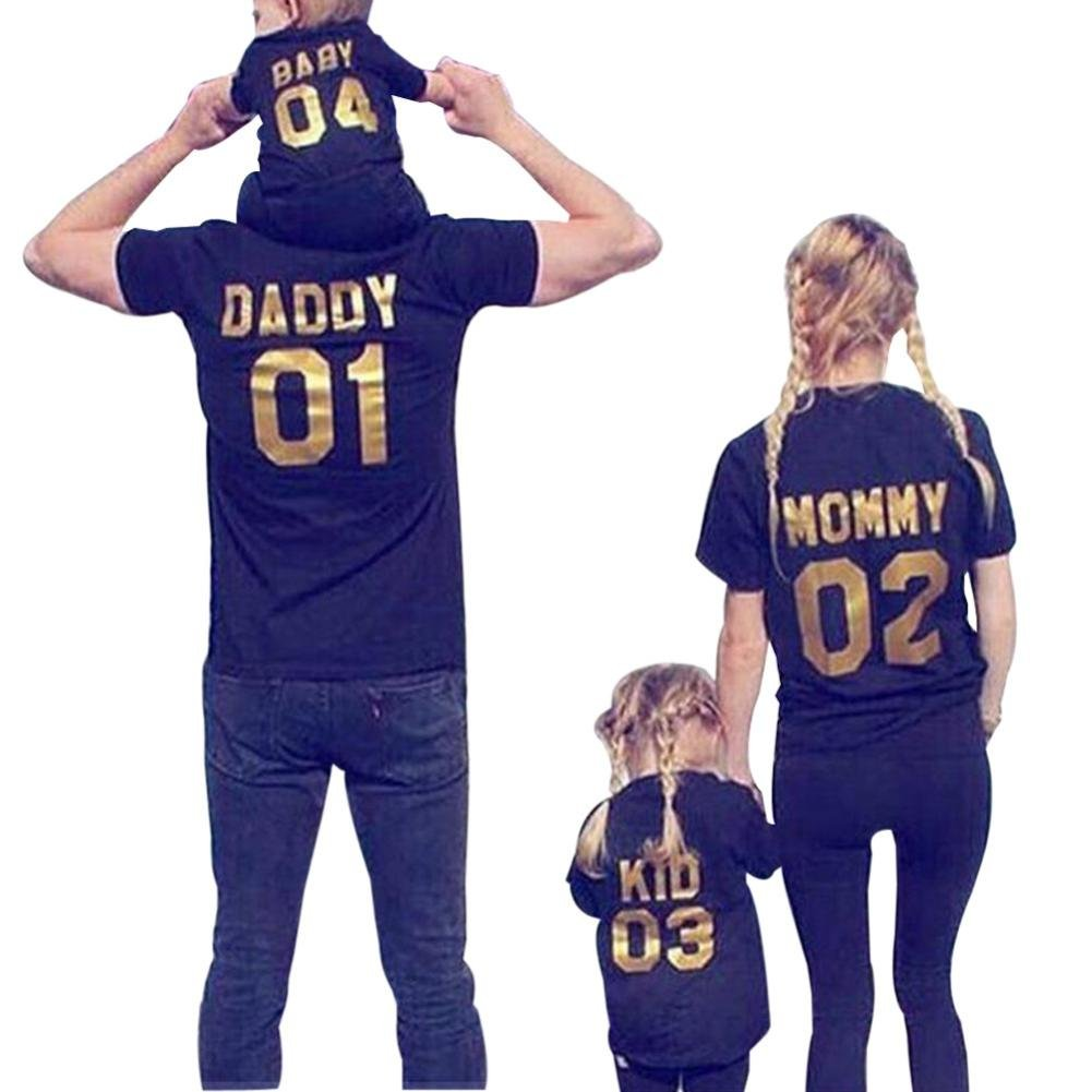 Franterd Mom Dad & Baby Parent-Child Letter Printed T Shirt Family Clothes Outfits Franterd-2018