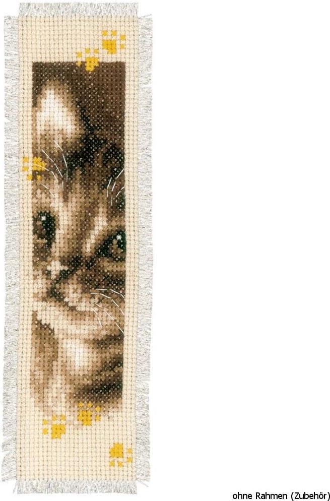 Vervaco Kit Punto Croce per Marca Pagina Design Gatto e Cane Kit Punto Croce Ricamo Set di 2