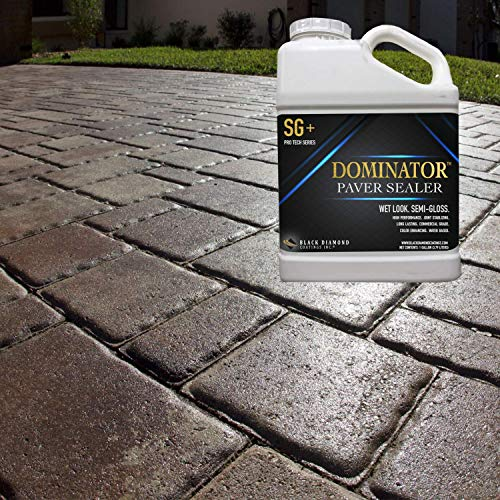 1 Gallon DOMINATOR SG+ High Gloss Paver Sealer and Decorative Concrete (Wet Look) - Solvent Free, Twice The Coverage Rate (up to 400 sq ft)