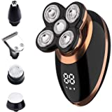 Surker Head Shavers for Bald Men 4d Electric Razor 5 in 1 Nose Beard Trimmer Hair Clipper Shaving Kit Rotary Shaver Cordless USB Rechargeable Facial Grooming Kit Waterproof
