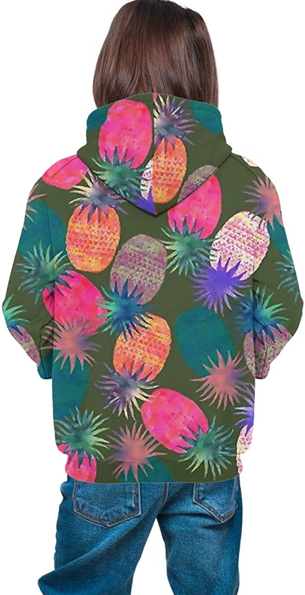 Ts Home Art Colorful Pineapple Teen Hoody Sweater Pullover Drawstring Pocket Casual Sweat Shirt for Students