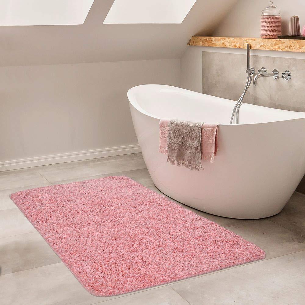 Gr/össe:40x55 cm Paco Home Moderner Badezimmer Teppich Einfarbig Hochflor Badteppich rutschfest In Grau