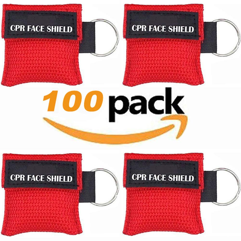 100pcs CPR Face Shield Mask Keychain Keyring Emergency Kit CPR Face Shields for First Aid or CPR Training (Red-100)