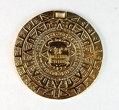 Amazing Aztec/Mayan Gold Color Charm Medallion 1 3/4 inches Round with Slot, Cosplay, Beverly Oak's Exclusive COA and Bonus Gold Pirate (Aztec Sun Collection)