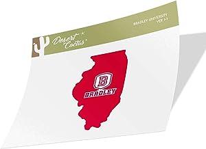 Bradley University BU Braves NCAA Vinyl Decal Laptop Water Bottle Car Scrapbook (State Boarder Sticker)