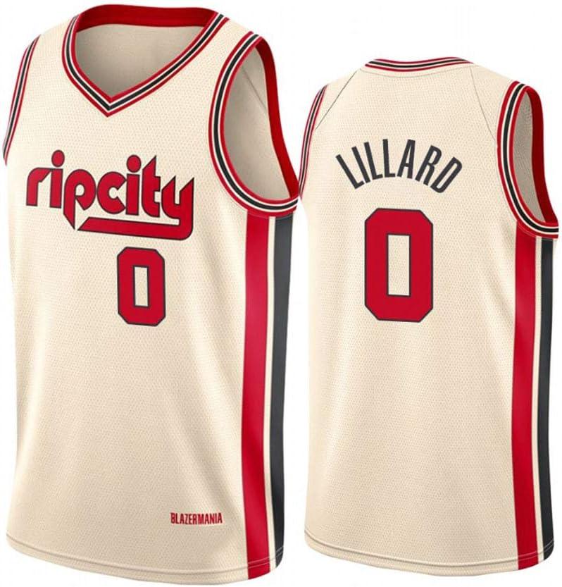 170cm//50~65kg LITBIT Mens Basketball Jersey Portland Trail Blazers 0#Lillard Breathable Quick Drying Sleeveless Sport Vest Top,Beige,S