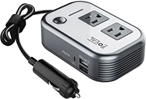 FOVAL 200W Power Inverter, DC 12V to AC 110V Car Inverter with [27W PD USB-C] & Dual USB Ports Multi-Protection Car Adapter Outlet
