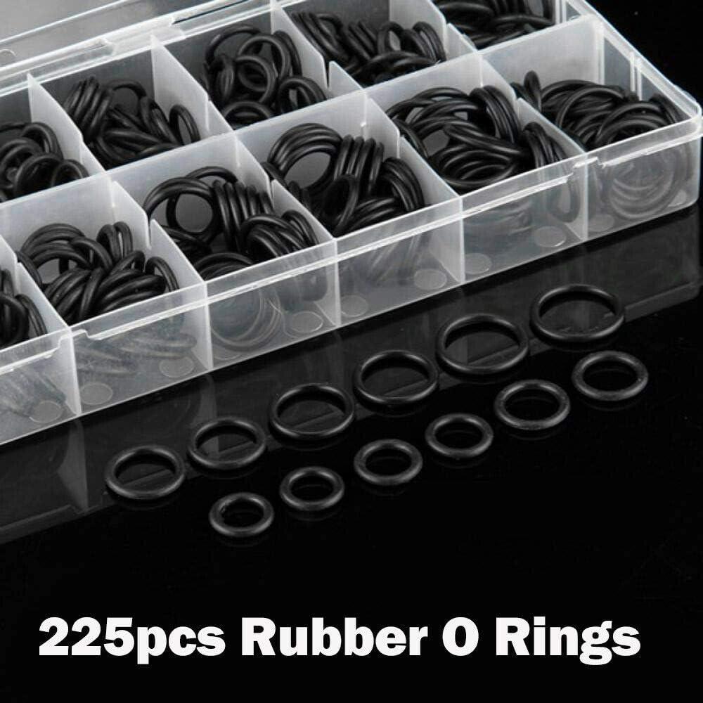 225 piezas de juntas de goma m/étricas para juntas de arandela de fontaner/ía y reparaci/ón r/ápida Juego de juntas t/óricas POWERTOOL