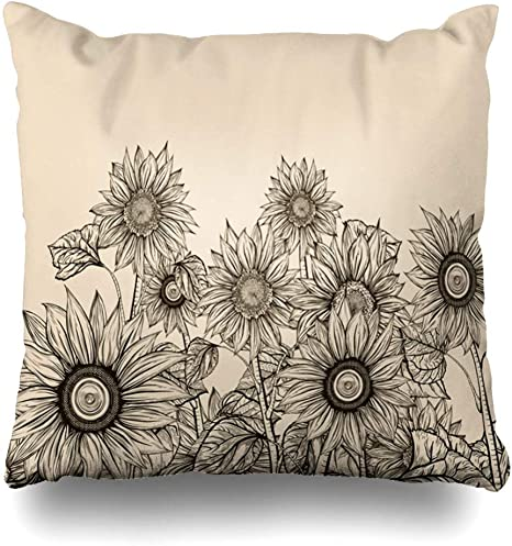 Afagahahs Decorative Throw Pillow Covers Sketch Speaker Incorporated Sunflower Vintage Floral Old Drawing Flower Music Leaf Cotton Cushion Covers 16 By 16 Inch Two Sides Home Kitchen
