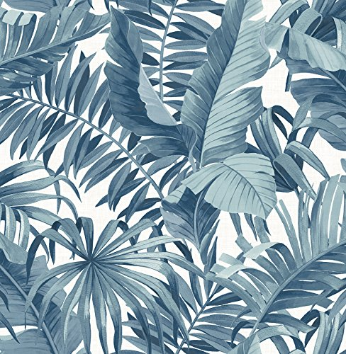 (A-Street Prints 2744-24133 Alfresco Navy Palm Leaf Wallpaper)