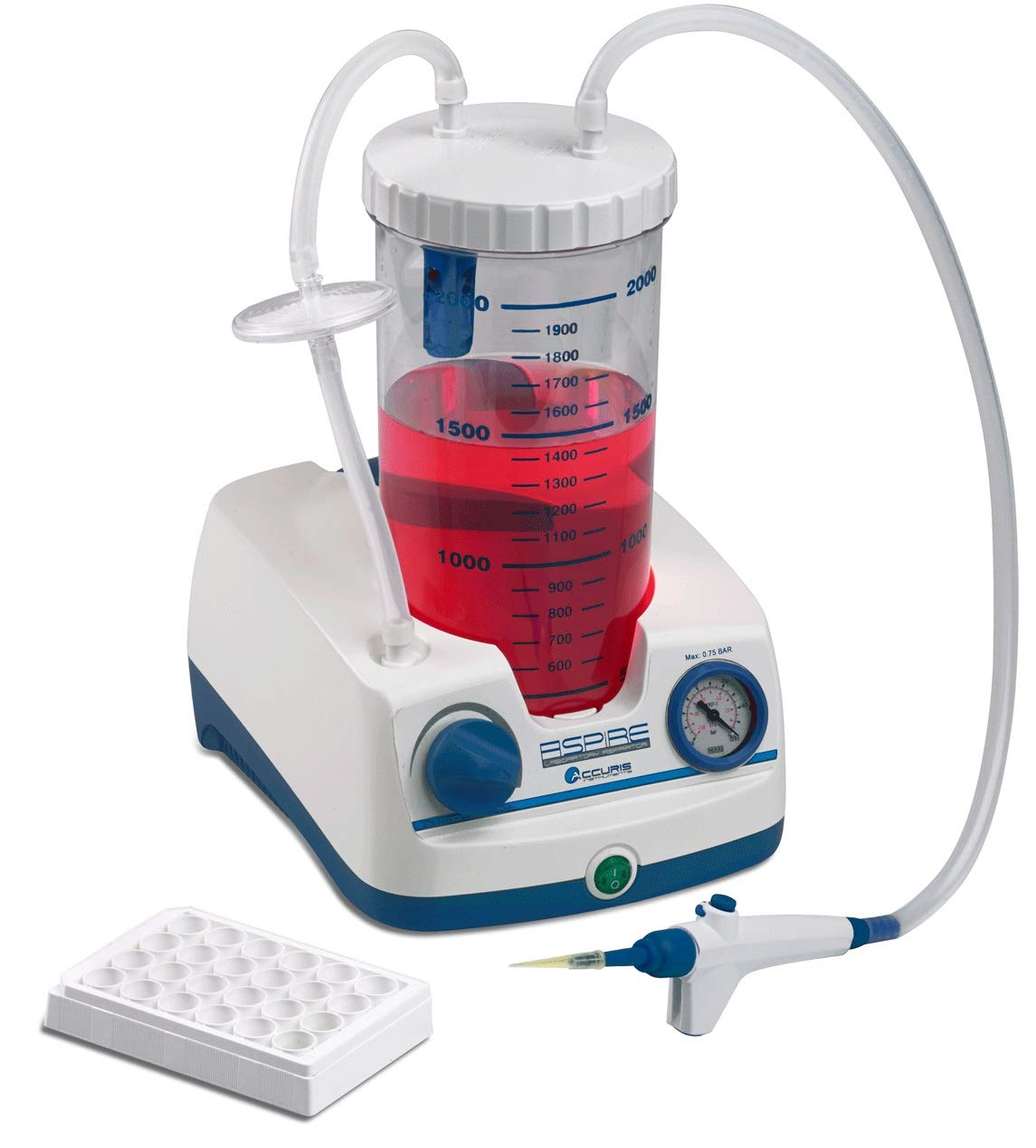 Benchmark Scientific V0020-E Accuris Aspire Laboratory Aspirator with Pump and 2 L Bottle, Handheld Vacuum Controller, 230V