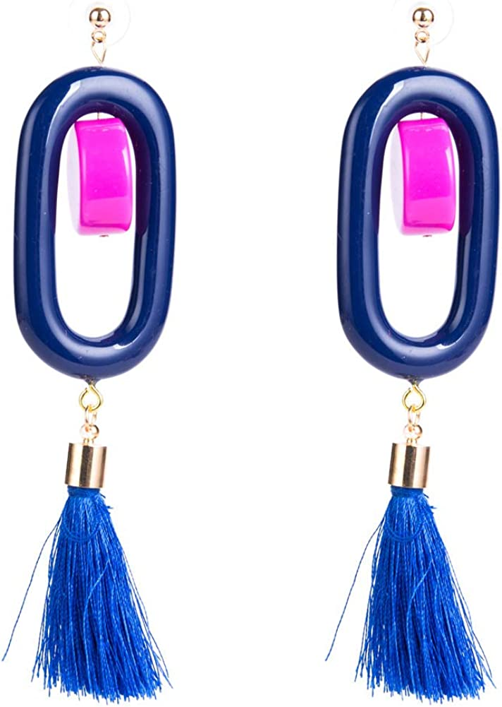 MDGWM Pendientes de Borla de múltiples Capas con Anillo de Resina Simple, Estilo Bohemio Retro de Moda Azul