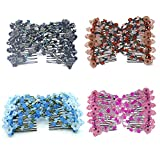 Casualfashion 4pcs Vintage Girls Jewelled Beaded Elastic Double Twin Headwear Magic Hair Comb Clips for Women