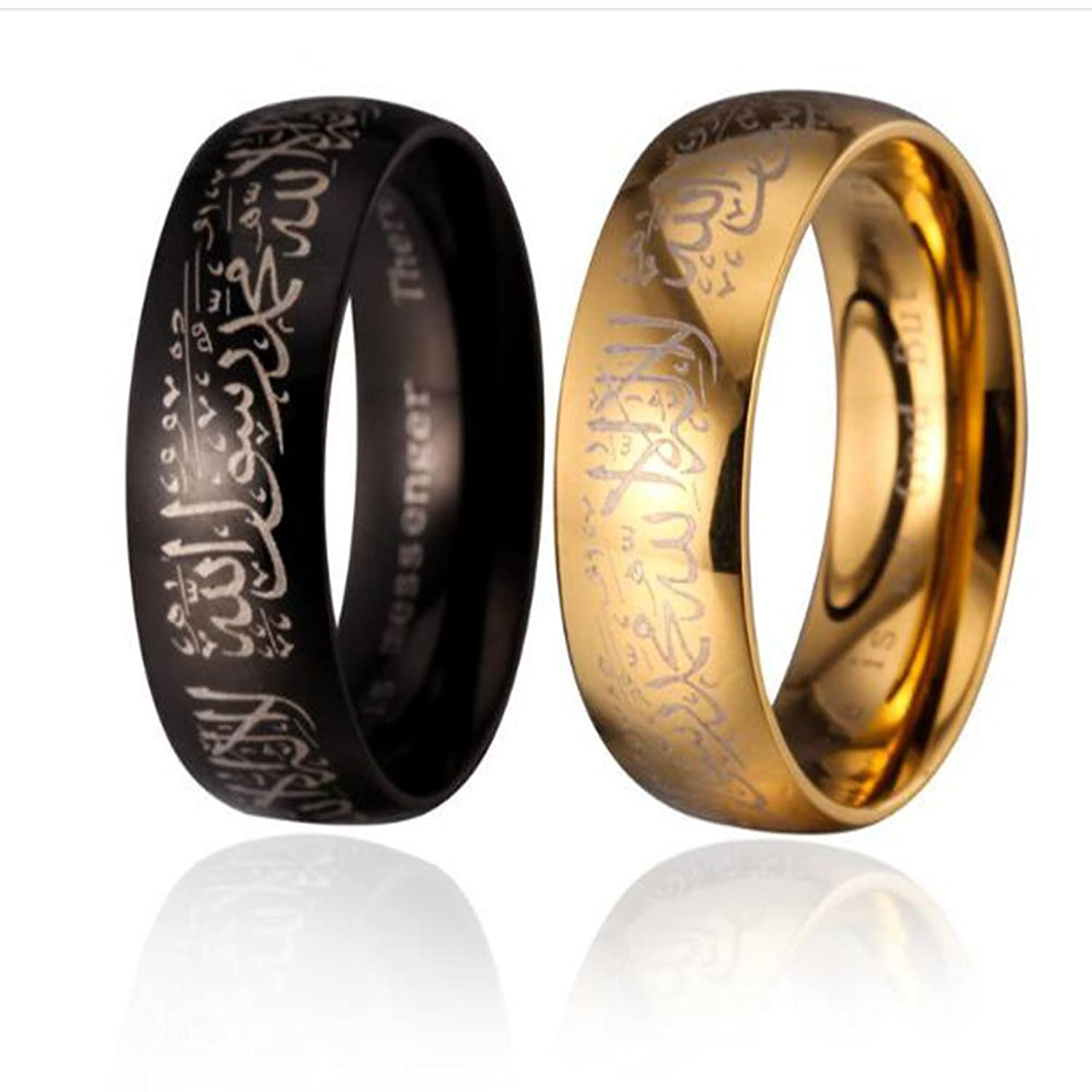PAURO 316l Stainless Steel Muslim Spinner Ring Band with Shahada in Arabic & English Black/Gold aXet1N72