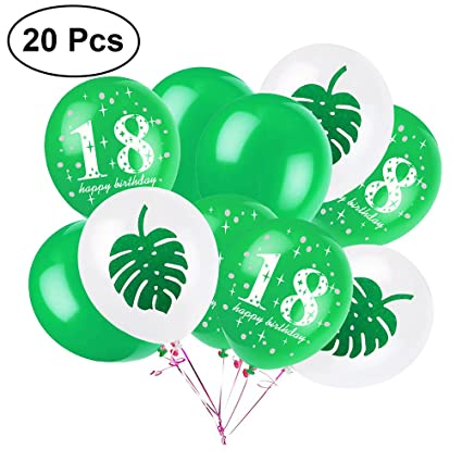 LUOEM 18th Birthday Party Decorations 12quot Latex Rubber Balloons Palm Favors
