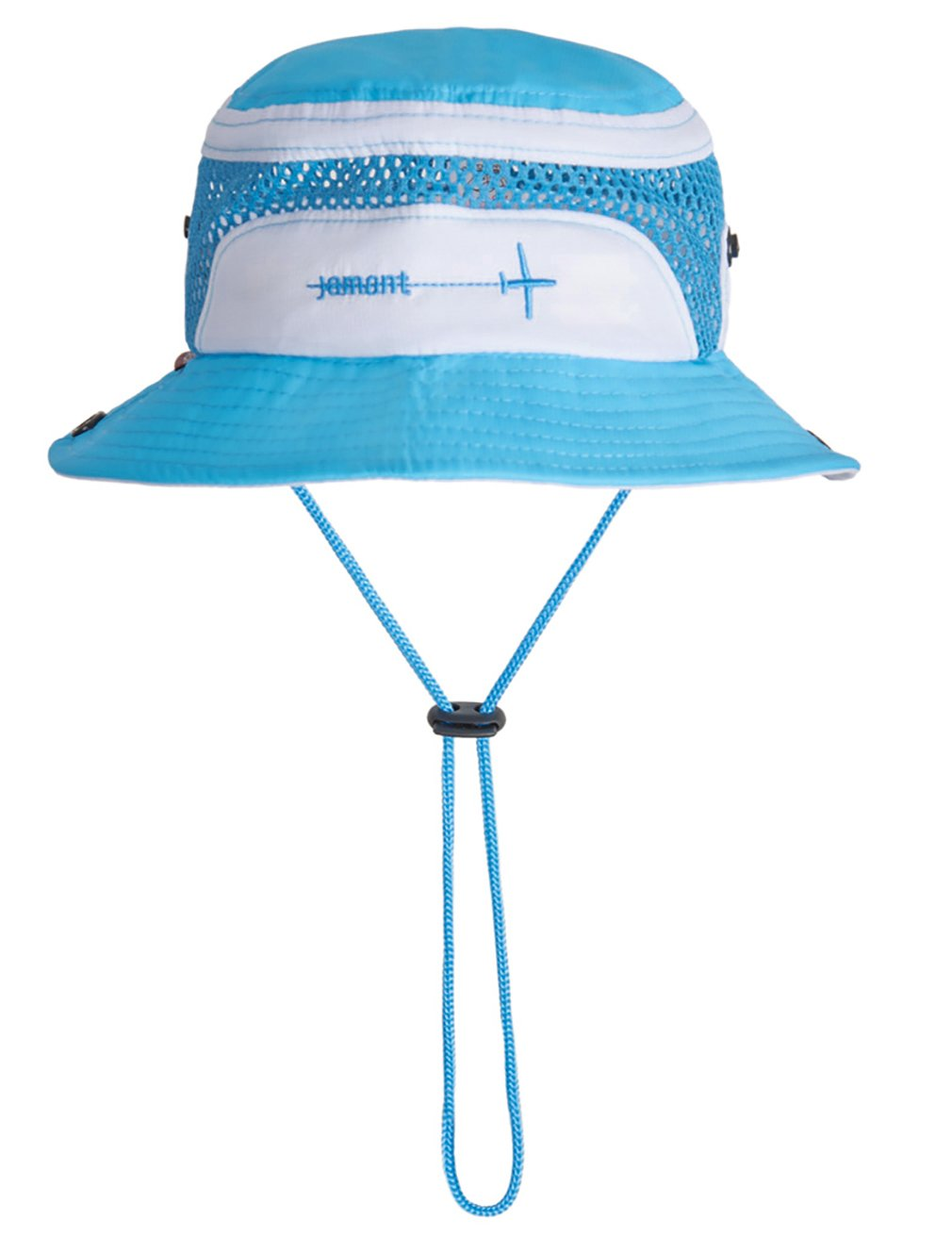 Eriso Baby Toddler Flight Boonie Sun Protection Hat with Chin Strap (12-24 Months, White Aqua)