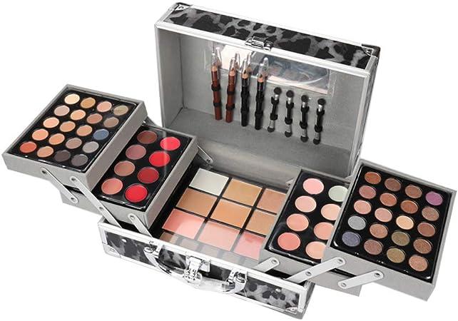 JWR Estuche de cosméticos Kit de Maquillaje Sombra de Ojos Rubor Espejo Corrector Lápiz Labial Estuche Maletas,Black: Amazon.es: Hogar