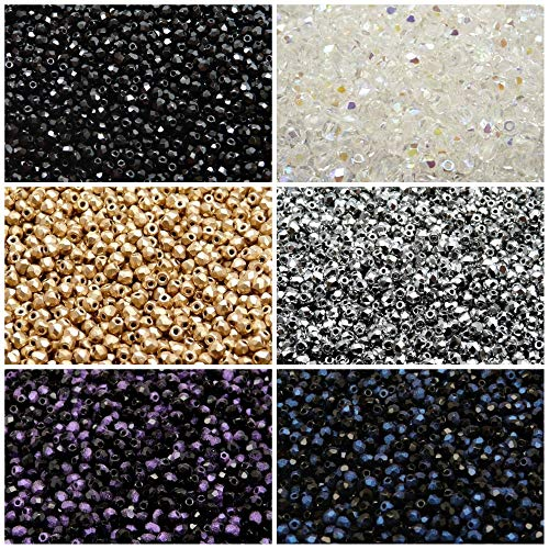 - 600 beads 6 colors Czech Fire-Polished Glass Beads Round 3 mm, Set 315 (3FP001 3FP002 3FP007 3FP033 3FP052 3FP054)
